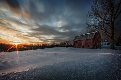 Red Farmhouse Photograph - Rural Sunset by Everet Regal