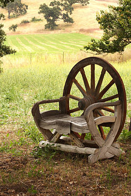 Rural Wagon Wheel Chair Art Print by Art Block Collections