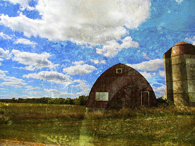 Digital Art - Rural Wi Barn W Texture by Anita Burgermeister
