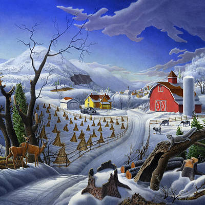 New England Snow Scene Painting - Rural Winter Country Farm Life Landscape - Square Format by Walt Curlee