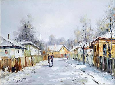 Rural Winter Print by Petrica Sincu