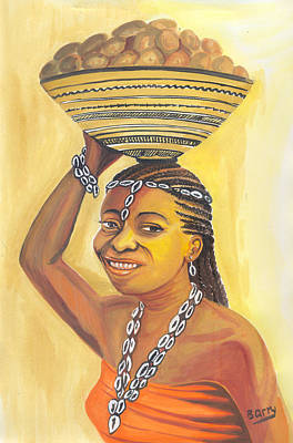 Art Print featuring the painting Rural Woman From Cameroon by Emmanuel Baliyanga