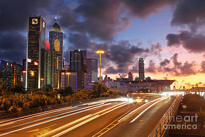 Convention Centers Photograph - Rush Hour During Sunset In Hong Kong by Lars Ruecker