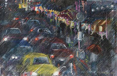 Painting - Rush Hour Rain  by Leela Payne