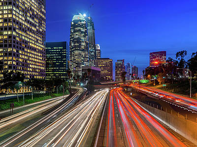 Photograph - Rush Hour Traffic In Downtown Los by Carl Larson Photography