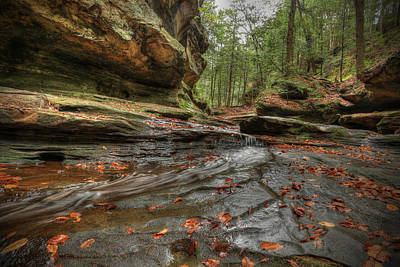 Fall Trees With Stream Photograph - Rush To Old Man's Cave by Jaki Miller