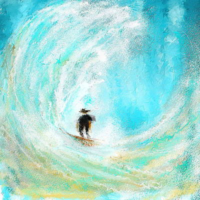 Surfing Art Painting - Rushing Beauty- Surfing Art by Lourry Legarde