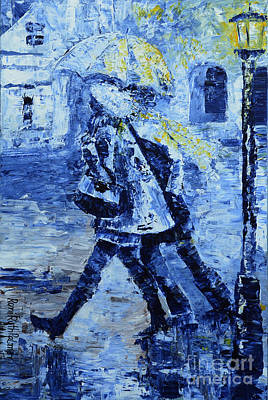 Figurative Painting - Rushing In The Rain  by Roni Ruth Palmer