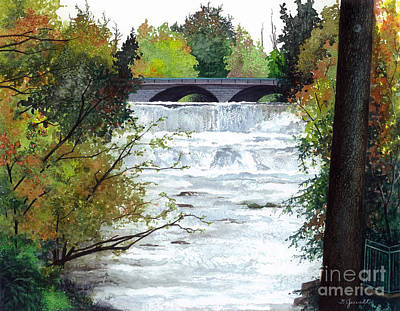 Rivers In The Fall Painting - Rushing Water - Quiet Thoughts by Barbara Jewell
