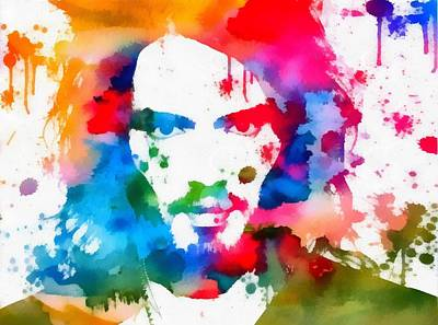 Russell Brand Paint Splatter Art Print by Dan Sproul