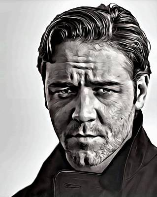 Painting - Russell Crowe Portrait by Florian Rodarte