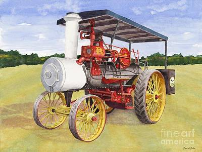 Steam Tractor Painting - Russell Engine by David Dobs