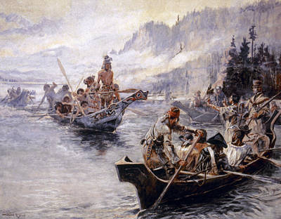 Sacagawea Painting - Russell Lewis And Clark by Granger
