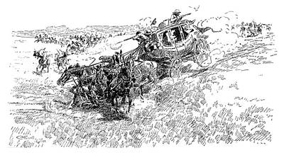 Wild Horse Drawing - Russell Overland Stage by Granger