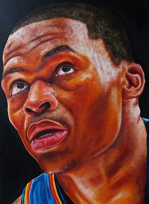 Lebron James Drawing - Russell Westbrook Intensity  by Freddie Simpkins