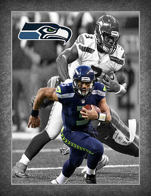 Football Stadium Photograph - Russell Wilson Seahawks by Joe Hamilton
