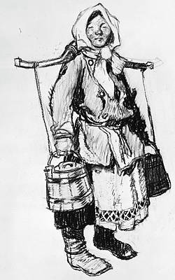 Pole Drawing - Russia Peasant by Granger