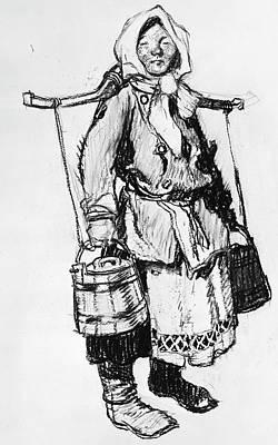 Babushka Drawing - Russia Peasant by Granger