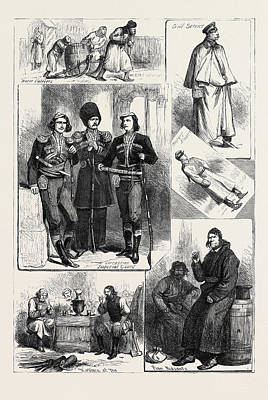 Popular Culture Drawing - Russia Popular Life And Manners 1880 by English School