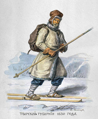 Russia Painting - Russia Skier, 1830 by Granger