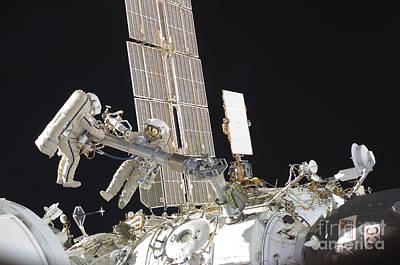 Russian Cosmonauts Working Art Print by Stocktrek Images
