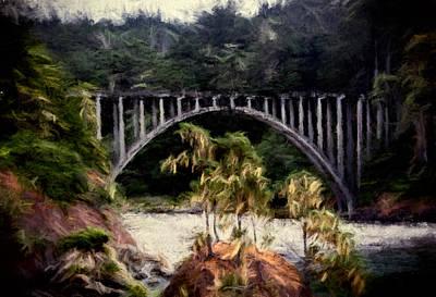 Russian Gulch Bridge Art Print by John K Woodruff