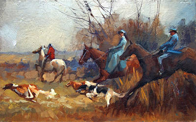 Sports Paintings - Russian hunting with hounds. by Alexey Shalaev