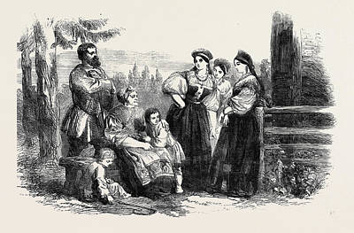 Russian Art Drawing - Russian Life Fete Costume Of Russian Peasants by English School