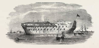 Indoor Drawing - Russian Prisoners At Sheerness The Devonshire Prison-ship by English School