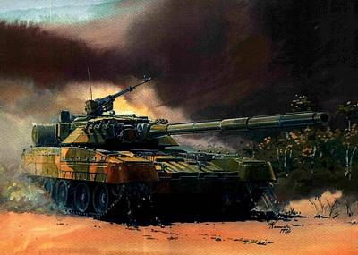 Soviet Union Mixed Media - Russian T 80 Tank In Action I Condemn Soviet Aggression In The Ukraine by L Brown