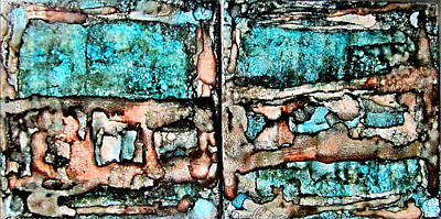 Dots And Lines Photograph - Rust And Aqua Alcohol Inks Abstract Duo by Danielle  Parent