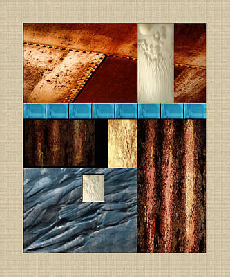 Rivets Painting - Rust And Rocks Rectangles by Elaine Plesser