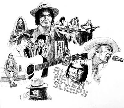 Neil Young Drawing - Rust Never Sleeps by Ron Enderland