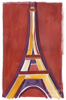 Painting - Rust Yellow Eiffel Tower by Robyn Saunders