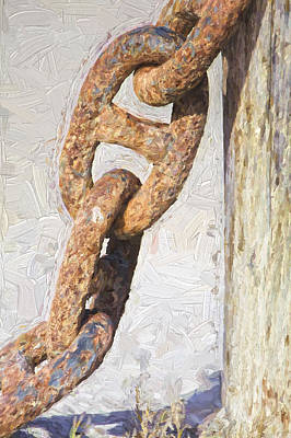 Painting - Rusted Anchor Chain by David Letts