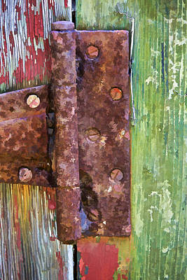 Photograph - Rusted Metal Hinge On A Colorful Door by David Letts