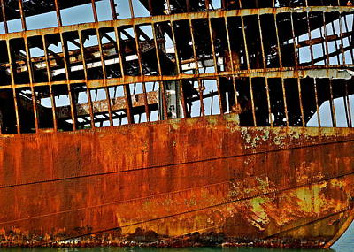 Photograph - Rusted Structure Of An Old Boat by Kirsten Giving