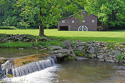 Photograph - Rustic Barn And Waterfall by Alan Lenk