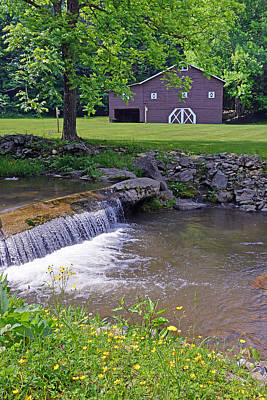 Photograph - Rustic Barn And Waterfall II by Alan Lenk