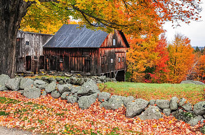 Photograph - Rustic Barn - New Hampshire Autumn Scenic by Expressive Landscapes Fine Art Photography by Thom