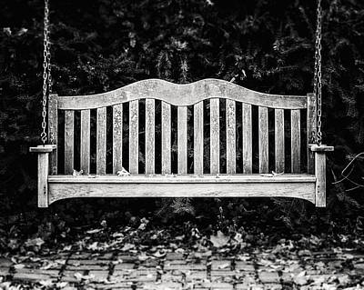 Chautauqua Lake Photograph - Rustic Bench Swing In Black And White by Lisa Russo
