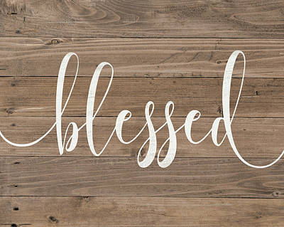 Painting - Rustic Blessed Script by Jo Moulton