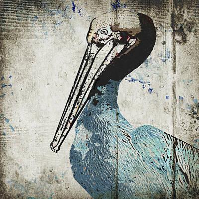 Sea Birds Painting - Rustic Blue Pelican by Sarah Ogren