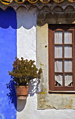Photograph - Rustic Brown Window Of The Medieval Village Of Obidos by David Letts