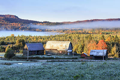 Barns In Snow Photograph - Rustic Buildings And Barn Among Autumn by Yves Marcoux