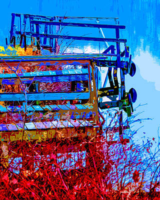 Reflecting Water Mixed Media - Rustic Docks by Brian Stevens