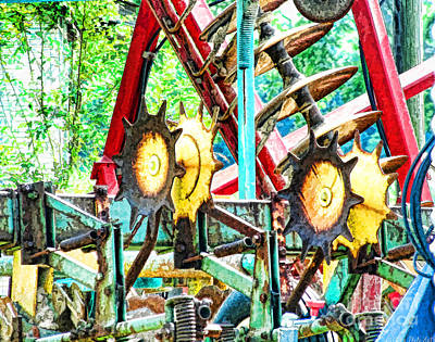Photograph - Rustic Farm Implements - Degital Paint by Debbie Portwood