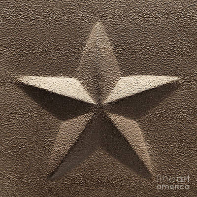 Embossed Photograph - Rustic Five Point Star by Olivier Le Queinec