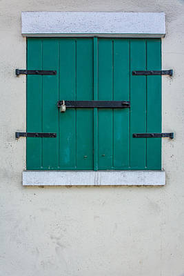 Photograph - Rustic Green Shuttered Window by James Hammond