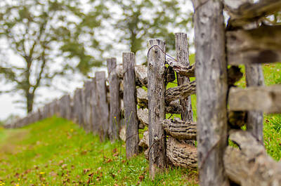 Photograph - Rustic Home Made Split Rail Fence In The Mountains Of North Caro by Alex Grichenko